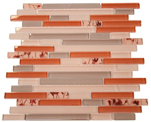 Glossy Orange and Grey with Flower Pieces Random Brick Pattern Mosaic Tiles for Bathroom and Kitchen Walls Kitchen Backsplashes