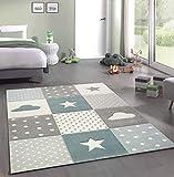 Merinos Kinderteppich Junge Teppich Kinderzimmer mit Stern Wolke in Blau Grau Creme Größe 80x150 cm