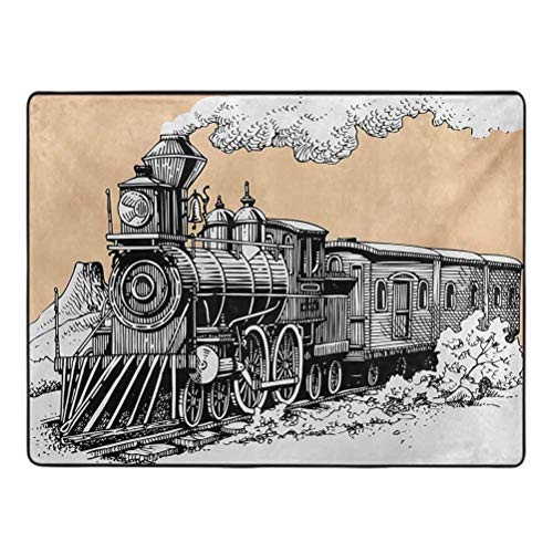 Steam Engine Bedroom Area Rug Vintage Wooden Train Rail Wild West Wagon in Countryside Drawing Effect Artsy Rug pad for Carpet 5' x 7' Peach White