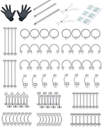 CASSIECA 88 PCS Body Piercing Kit 14G 16G 18G Professional Piercing Tool Kit Stainless Steel Belly Tongue Tragus Eyebrow Nipple Lip Nose Ring Septum Piercing Body Jewelry for Men/Women