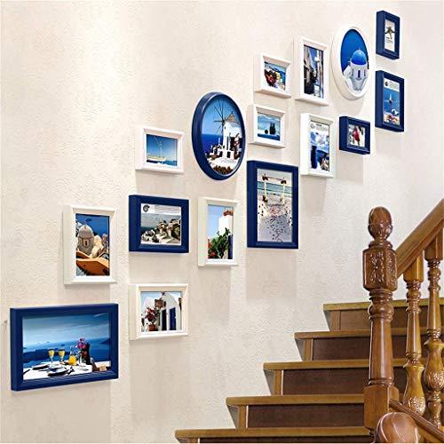 YLCJ blauwe + witte mediterrane muur opknoping fotolijst combinatie van 16 stuks set, creatieve schaal achtergrond muurdecoratie (190X155cm)