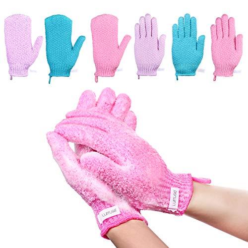 Lurrose Gants exfoliants Gommage pour le corps de la douche Gants de bain en nylon améliorés pour double gommage, 6 paires de types de gants