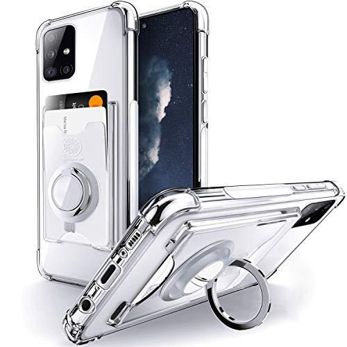 Shields Up Funda Transparente para Galaxy A71,Funda Samsung A71 con Soporte de Anillo Giratorio de 360 Grados y Tarjetero,Estuche Transparente de TPU a Prueba de Golpes-Transparente