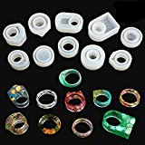 LET'S RESIN Resin Ring Molds 10 Pcs Silicone Jewelry Ring Molds for Epoxy Resin, UV Resin (17mm,18mm,20mm,21mm)