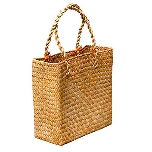Artibetter Bolsas de paja de 1 pieza bolso de mano tejido a mano para mujer anillo de asa redonda toto bolsa de paja de playa de verano retro (amarillo)