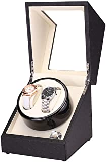 Watch 2 Grids Automatic Watch Winder Box Case with Quiet Motor Watch, Luxury, Fashion Watch (Color : Black-2)