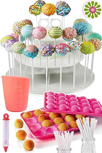 KIT COMPLETO PER CAKE POP - Stampi in silicone per cake pop, 120 bastoncini per lecca lecca, crogiolo per caramelle e cioccolato, penne decorative, borse, lacci a spirale e base di supporto 3 file