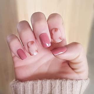 Poliphili 24Pcs Color Shading False Nails Press On Short Square Full Coverage Design Acrylic Fake Nails Pattern Decoration Tips (Pink)