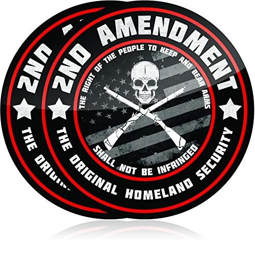 Premium 2nd Amendment Stickers (2 Pack) 4 Inch Diameter Great for Your Truck or Toolbox