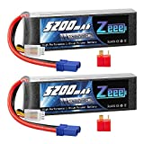 Zeee 3S LiPo Battery 11.1V 60C 5200mAh with EC5 and Deans T Connector Soft Case for RC Plane Quadcopter Airplane Helicopter RC Car Truck RC Boat(2 Packs)