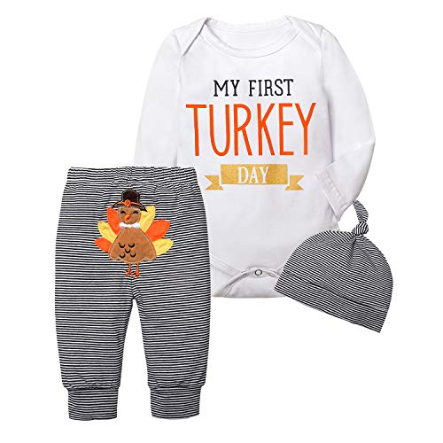 Thanksgiving Outfit Baby Girls Boys Newborn My First Turkey Day Romper Bodysuit Onesie and Striped Turkey Pants 3-6 Mo Brown