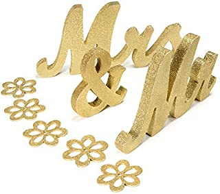 Haperlare Vintage Style Gold Mr and Mrs Sign Mr & Mrs Wooden Letters Wedding Sweetheart Table Sign with Gold Glitter Lette...