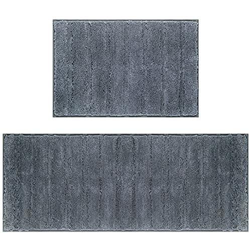 U'Artlines Lot de 2 Tapis de Bain Anti-Glissant Microfibre Absorbant Eau Super Comfort Tapis de Douche pour Salle de Bain(Gris foncé,45x65+45x120cm)