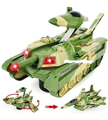 KF Deals ids Electric Automatic Deformation 2 in 1 Battery Operated Tank and Jet Fighter Airplane Toy with Lights, Shooting Music and Bump