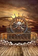 5X7FT Laeacco Halloween Backdrop Vinyl Backdrop Photography Background Wooden Wheel Pirate Ship Skulls Horror Night Backdrop Photo Studio Props