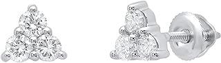 Dazzlingrock Collection 14K Round Gemstone Ladies Three Stone Stud Earrings, White Gold