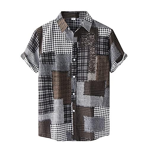 Camicia da uomo a maniche corte casual con stampa ad acquerello, maglietta estiva slim fit, da uomo, con bottoni a pressione, maglietta estiva, C_Braun., XL