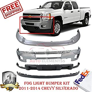 Front Bumper Kit for 2011-2014 Chevy Silverado 2500HD 3500HD Lower Valance W/Fog Light Holes & Tow Hook Holes Direct Replacement Upper Chrome Steel Set of 4 GM1002837 GM1014106 GM1092213 GM1095195