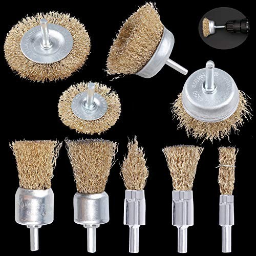 Steel Wire Brush Wheel, 9PCS Brass Coated Power Brush Sets & Cup Brush Set, Multi Sizes Wire Brushes Drill Bit Set, Perfect for Derusting, Degreasing, Deburring, Polishing
