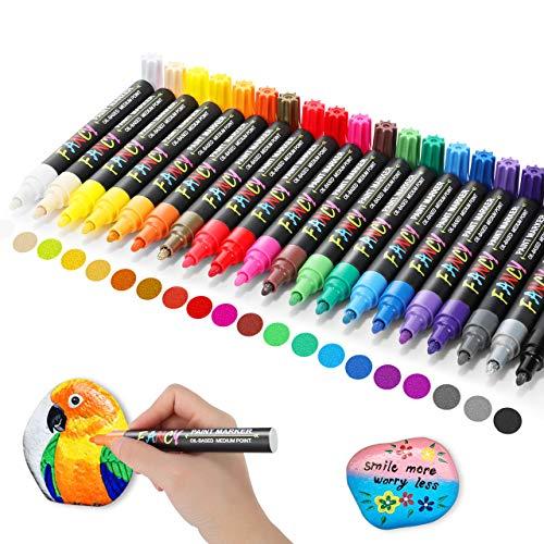 24 Nibs Pintura Acrílica Recargable Plumas 12 colores vibrantes de repuesto-tanto Delgada