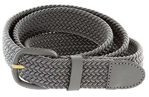 Belts.com Leather Covered Buckle Woven Elastic Stretch Belt, Gray, (L(37'-39')