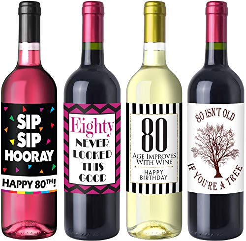 Sterling James Co. Schicke Weinflaschen-Etiketten für 80. Geburtstag – Geburtstagsparty Accessoires, Ideen und Dekorationen – Lustige Geburtstagsgeschenke für Frauen