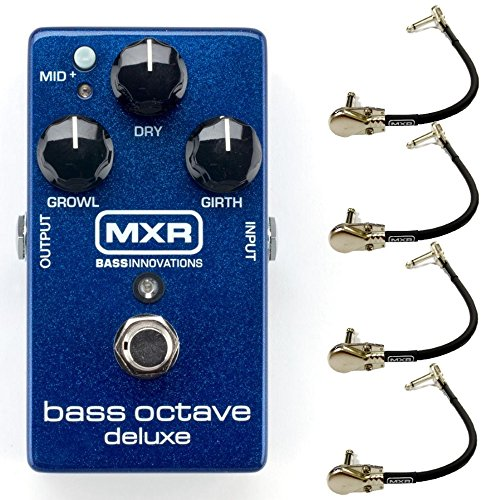 MXR M288 Bass Octave Deluxe Effects Pedal Bundle with 4 MXR Right Angle Patch...