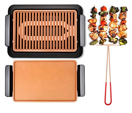 Gotham Steel Indoor Smokeless Grill Electric Grill Ultra Nonstick Electric Grill Dishwasher Safe Surface, Temp Control, Metal Utensil Safe, Barbeque Indoors with No Smoke!