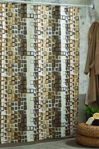 Textil Duschvorhang braun Karo 180x200 cm Raumteiler Badevorhang