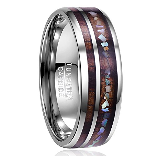 NUNCAD Ring Damen/Herren Silber mit Holz und Muschel Design, Unisex Ring aus Wolframcarbid 8mm, Ring für Hochzeit, Verlobung, Partnerschaft, Größe 57 (17)