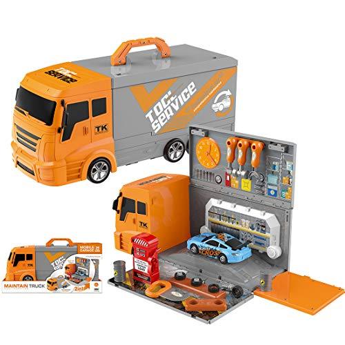 AMITAS 36 Teiliges Werkzeugkoffer Kinder Autowerkstatt Spielzeug inklusive Auto