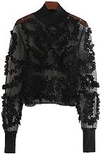 Blusa Corta de Malla Transparente Sexy para Mujer Ver a través de Manga Larga Crop Top Camisas de Club de Fiesta con Estilo Femenino