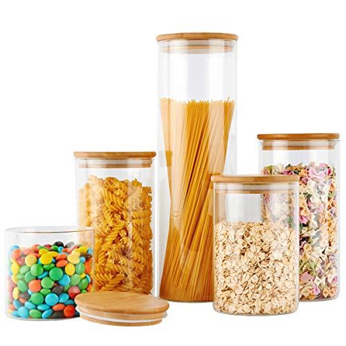 COPDREL Vorratsdosen aus Glas, Vorratsglas mit luftdichtem Bambusdeckel, 5 Stück, für Kaffee, Mehl, Zucker, Süßigkeiten, Kekse, Gewürze und mehr