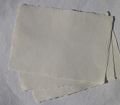 extrafeines handgeschöpftes Büttenpapier 120g/m² Aquarellpapier A5 10 Bogen/Set offwhite/softvanilla BaumwollLinters (AE125)