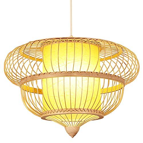 wangch Lámpara colgante de linterna de bambú Lámpara colgante de estilo japonés retro Lámpara colgante de ratán hecho a mano E27 Accesorio de iluminación redondo para sala de estar Restaurante Café Ba