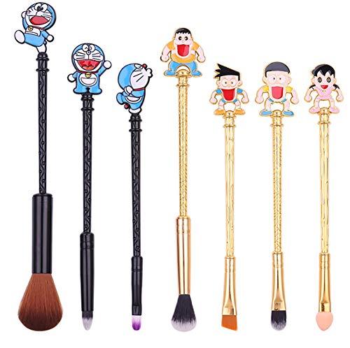 Zcthk Maquillage Pinceau Set 7pcs Doraemon Machine Chat Maquillage Pinceaux Poignées Outils De Beauté pour Une Application Uniforme De Blush Maquillage Pinceaux Démarreur