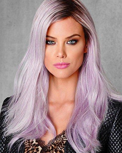 Perücke Damen lila Pinke Haar Lace Front Perücke 24' Natürlich Mode wig Cosplay Dunkle Wurzel Teil Gelockt Hohe Synthetische Lose Welle...