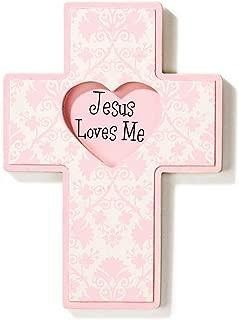 Dicksons Jesus Loves Me Wall Cross, Pink Heart