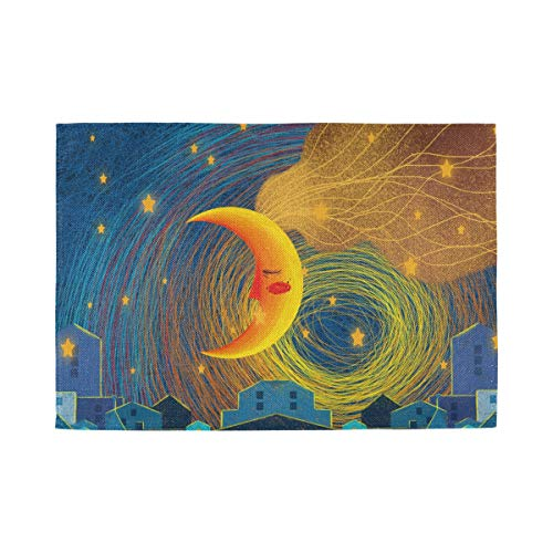 ATONO Night Sky Stars Yellow-Orange Moon Placemat Kitchen Table Lunching Plate Mats Double-Sided Use [1 PCS 12X18 Inch] Non-Slip Washable Dining Insulation Pads