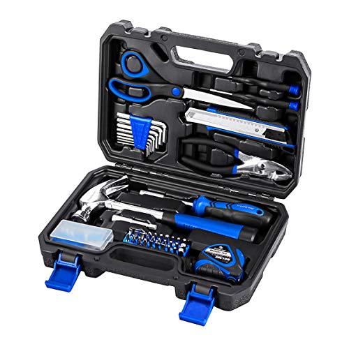 PROSTORMER - Kit de herramientas de reparación para el hogar, 49 piezas, portátil, con caja de herramientas, gran regalo para principiantes
