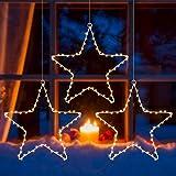 Litake LED Weihnachtsstern Beleuchtung, 6M 60 LED Jeder Stern Weihnachtslichter Stern Fensterdeko Weihnachtsdeko Batteriebetrieben Timer Warmweißen (3 Stk)