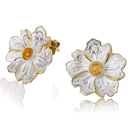 Regalo para ti Springlight S925 Pendientes de botón de plata esterlina Piedra natural Flor de peonía Pendiente colgante para mujeres y niñas(Yellow)