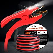 TOPDC Jumper Cables with LED Light 4 Gauge 16 Feet Heavy Duty Booster Cables with Carry Bag (4AWG x 16Ft)