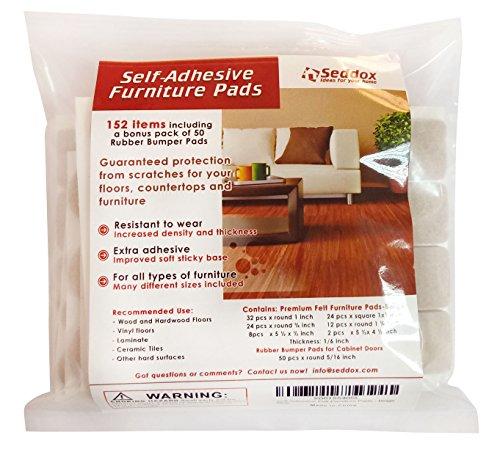 Seddox Premium Furniture Set with Bonus Rubber Bumper, Heavy Duty Extra Adhesive Hardwood Floor Protectors, Felt Chair Leg Pads for Wood and Laminate Floors, Large, Beige, 152 Piece