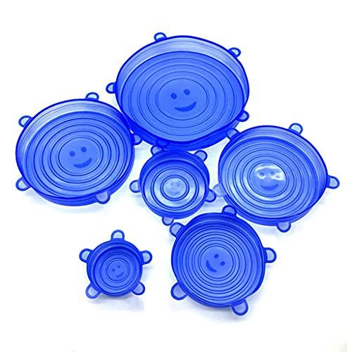 SSMDYLYM Cubierta de conservación de Alimentos Conjunto de 6 Piezas, Membrana de Sellado de Silicona de Grado alimenticio Tapa Flexible de contenedor de Vegetales y Frutas. (Color : Dark Blue)