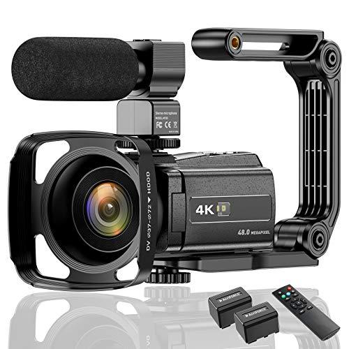 ビデオカメラ ACTITOP デジタルビデオカメラ 4K フルHD 48MP WIFI機能 16倍デジタルズーム IR夜視機能 3.0インチタッチモニター 外部マイク 超広角レンズ搭載 ビデオライト カメラバッグ 日本語システム