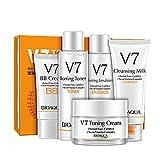 BIOAQUA V7 Toning Skin Care Toner BB Cream Emulsion Lotion Cleanser Vitamins 5PCS Gift Set 100g + 120ml + 120g +50g +40g