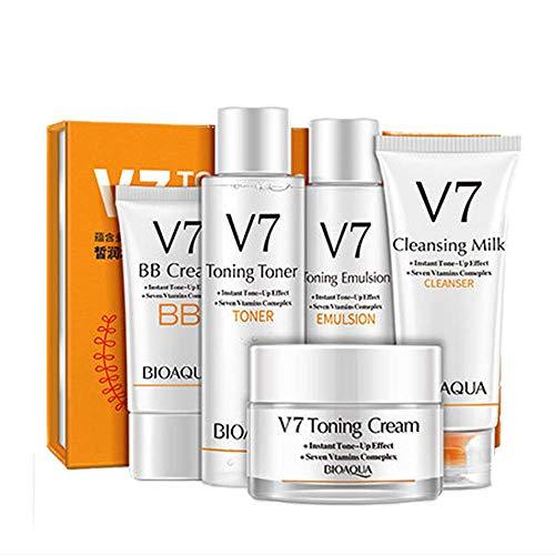 BIOAQUA V7 Toning Toner Bb Creme Emulsion Lotion Reiniger Vitamine 5 Stücke Set 100G + 120 ml + 120G + 50G + 40G