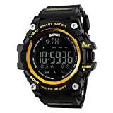 Skmei Bluetooth Digital Black & Gold Dial Smart Watch With Health Fitness And Sport Activity Tracker For All Mobiles - Gs10347