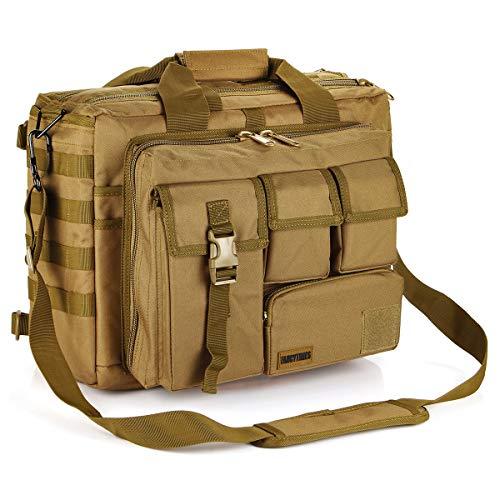 Military Briefcase,15.6 inch Men's Laptop Messenger Bag Tactical Briefcase Multifunction Outdoor Computer Shoulder Handbags (15.6', Khaki)